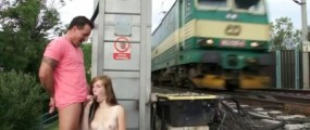 Couple fucking near the railroad