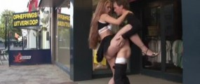 Young couple fucking in front of the shop